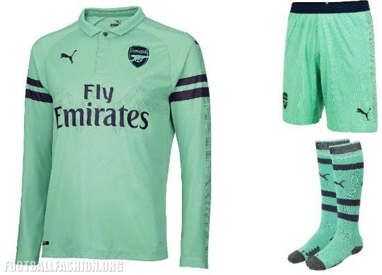 Arsenal FC 2018 2019 PUMA Green Third Football Kit, Soccer Jersey, Shirt, Maillot, Camiseta, Camisa, Trikot, Tenue, Equipacion
