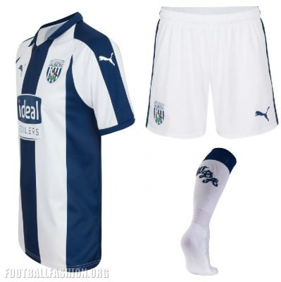 West Bromwich Albion 2018 2019 PUMA Home Football Kit, Soccer Jersey, Shirt