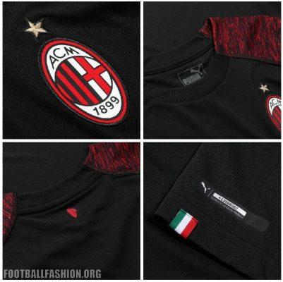 AC Milan 2018 2019 PUMA Black Third Soccer Jersey, Shirt, Football Kit, Gara, Maglia, Camisa, Camiseta, Maillot, Trikot
