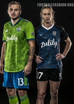 Seattle Sounders and Reign 2019 adidas Home Soccer Jersey, Shirt, Football Kit, Camiseta de Futbol