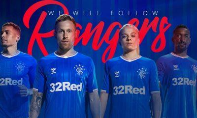 Rangers FC 2019 2020 hummel Home Football Kit, Soccer Jersey, Shirt