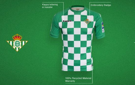 Real Betis 2019 Recycled Kappa Football Kit, Soccer Jersey, Shirt, Camiseta de Futbol Earth Day