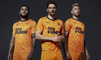 Newcastle United 2019 2020 PUMA Orange Third Football Kit, Soccer Jersey, Shirt, Camiseta de Futbol, Camisa, Maillot