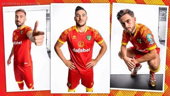Norwich City 2019 2020 Erreà Red Away Football Kit, Soccer Jersey, Shirt