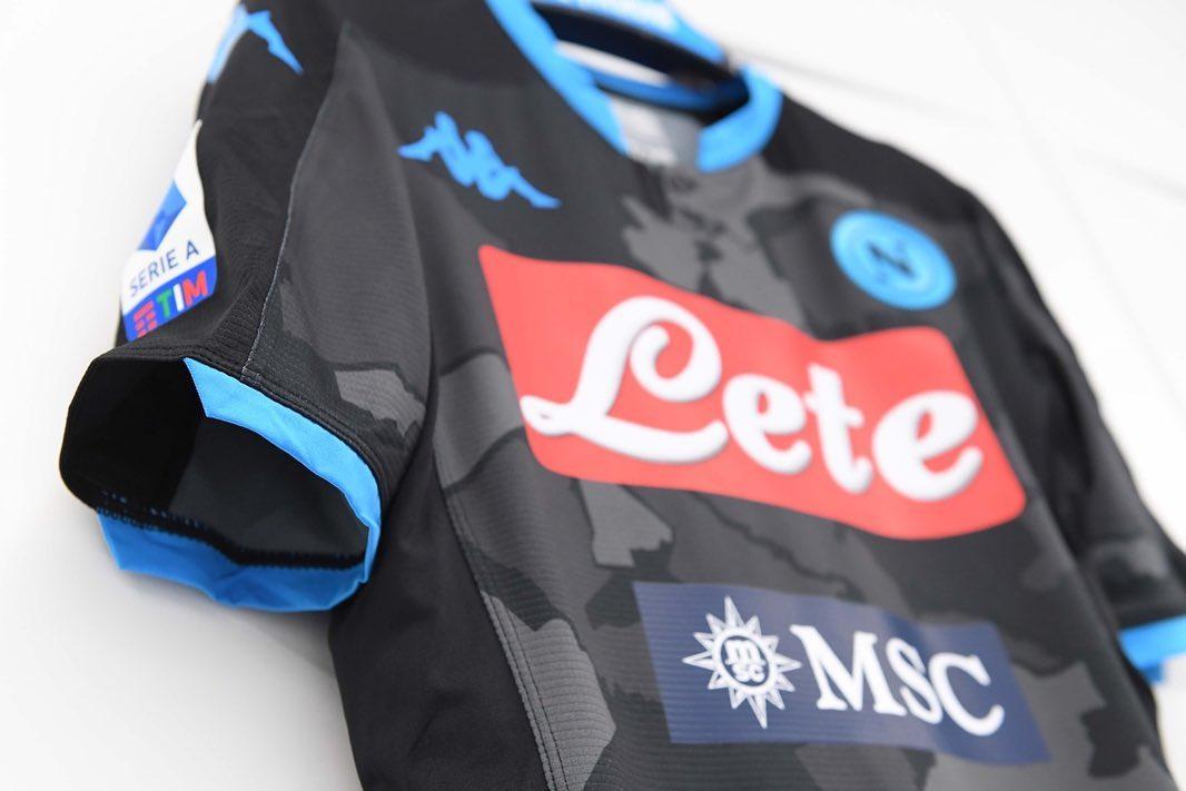 SSC Napoli 2019 2020 Kappa Black Fourth Distirct Football Kit, Soccer Jersey, Shirt. Camiseta, Camisa, Gara, Maglia