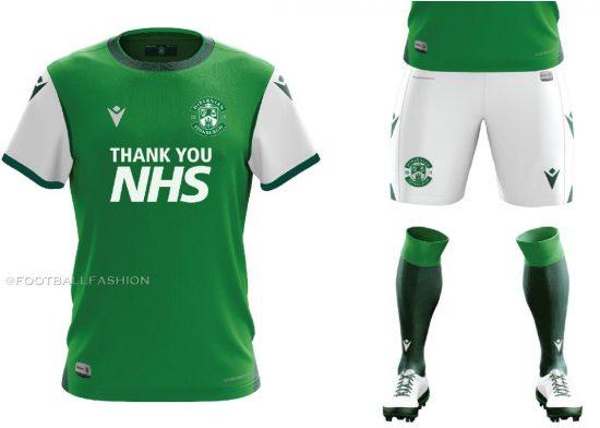 Hibernian FC 2020 2021 Macron Home Football Kit, Soccer Jersey, Shirt