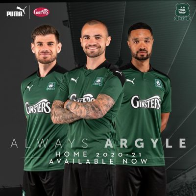 Plymouth Argyle 2020 2021 PUMA Home Football Kit, Soccer Jersey, Shirt