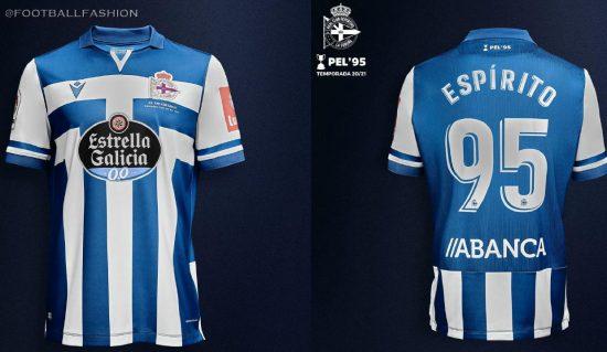 Deportivo de La Coruña 2020 2021 Macron Home Football Kit, 2020/21 Soccer Jersey, 2020-21 Shirt, Camiseta
