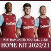 West Ham United 2020 2021 Umbro Home Football Kit, 2020-21 Soccer Jersey, 2020/21 Shirt