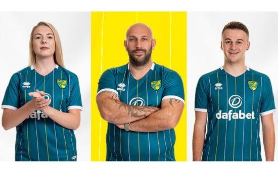 Norwich City 2020 2021 Errea Away Football Kit, 2020/21 Soccer Jersey. 2020-21 Shirt