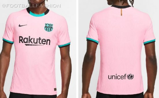 FC Barcelona 2020 2021 Nike Pink Third Football Kit, 2020-21 Soccer Jersey, 2020/21 Shirt, Camiseta, Equipacion, Camisa, Maillot, Trikot, Tenue