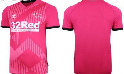 Derby County 2020 2021 Pink Umbro Third Football Kit, 2020-21 Soccer Jersey, 2020/21 Shirt