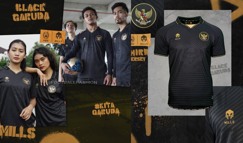 Indonesia 2020 2021 Mills Sport Black Garuda Third Football Kit, 2020-21 Soccer Jersey, 2020/21 Shirt