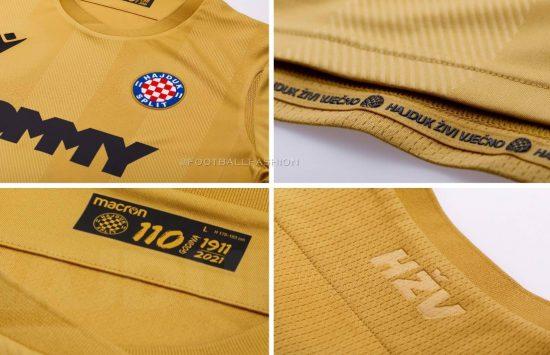 Hajduk Split 2021 110th Anniversary Macron Football Kit, Soccer Jersey, Shirt, Zlatni Dres 110