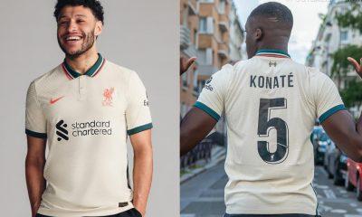 Liverpool FC 2021 2022 Nike Cream Away Football Kit, 2021-22 Soccer Jersey, 2021/22 Shirt, Camiseta, Camisa, Maillot, 21/22 Trikot