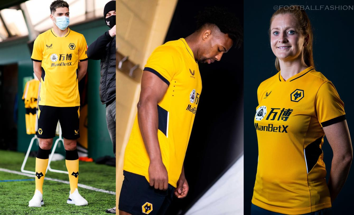 Wolverhampton Wanderers 2021 2022 Castore Home Football Kit, 2021-22 Shirt, 2021/22 Soccer Jersey, Camisa 21-22, Camiseta 21/22