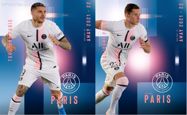 Paris Saint-Germain 2021 2022 Nike White Away Football Kit, 2021/22 Soccer Jersey, 2021-22 Shirt, Maillot, Camiseta 21/22, Camisa, Trikot