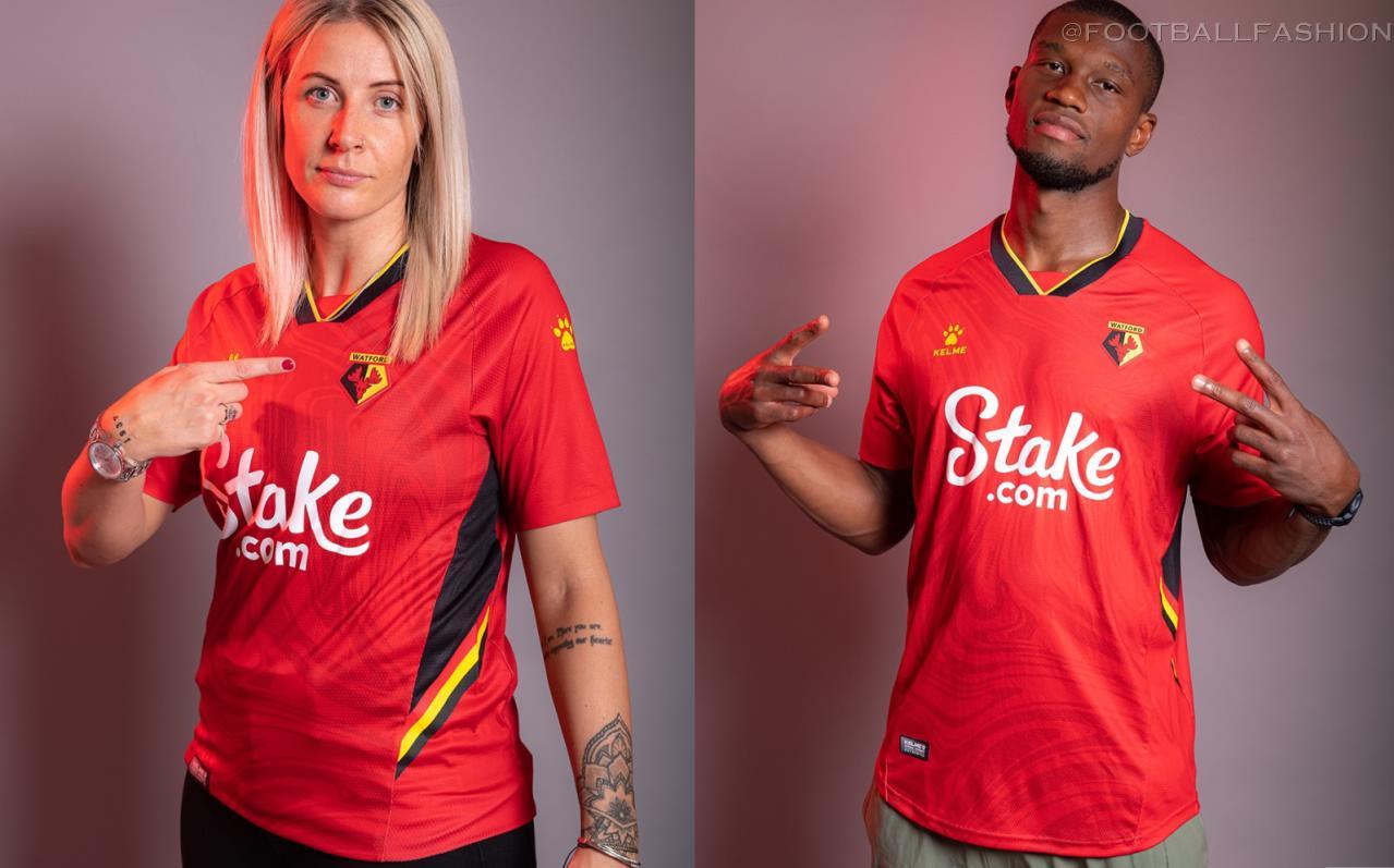 Watford FC 2021 2022 Kelme Red Away Football Kit, 2021-22 Soccer Jersey, 2021/22 Shirt